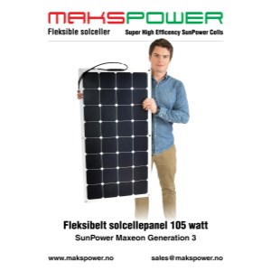 Makspower 105 Watt Fleksibelt solcellepanel SunPower Maxeon generation 3