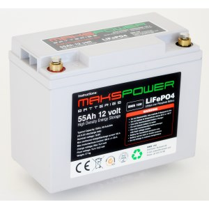Makspower 55 AH 12 volt Bluetooth LiFePO4 Batteri BMS 100 Ampere