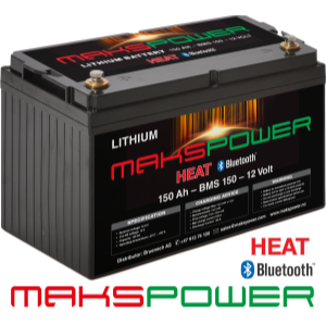 Makspower Heat Bluetooth 150 AH 12 volt LiFePO4 Batteri BMS 150 Ampere