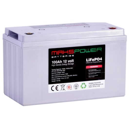 Makspower 100 AH 12 volt LiFePO4 Batteri Bluetooth BMS 150 Ampere