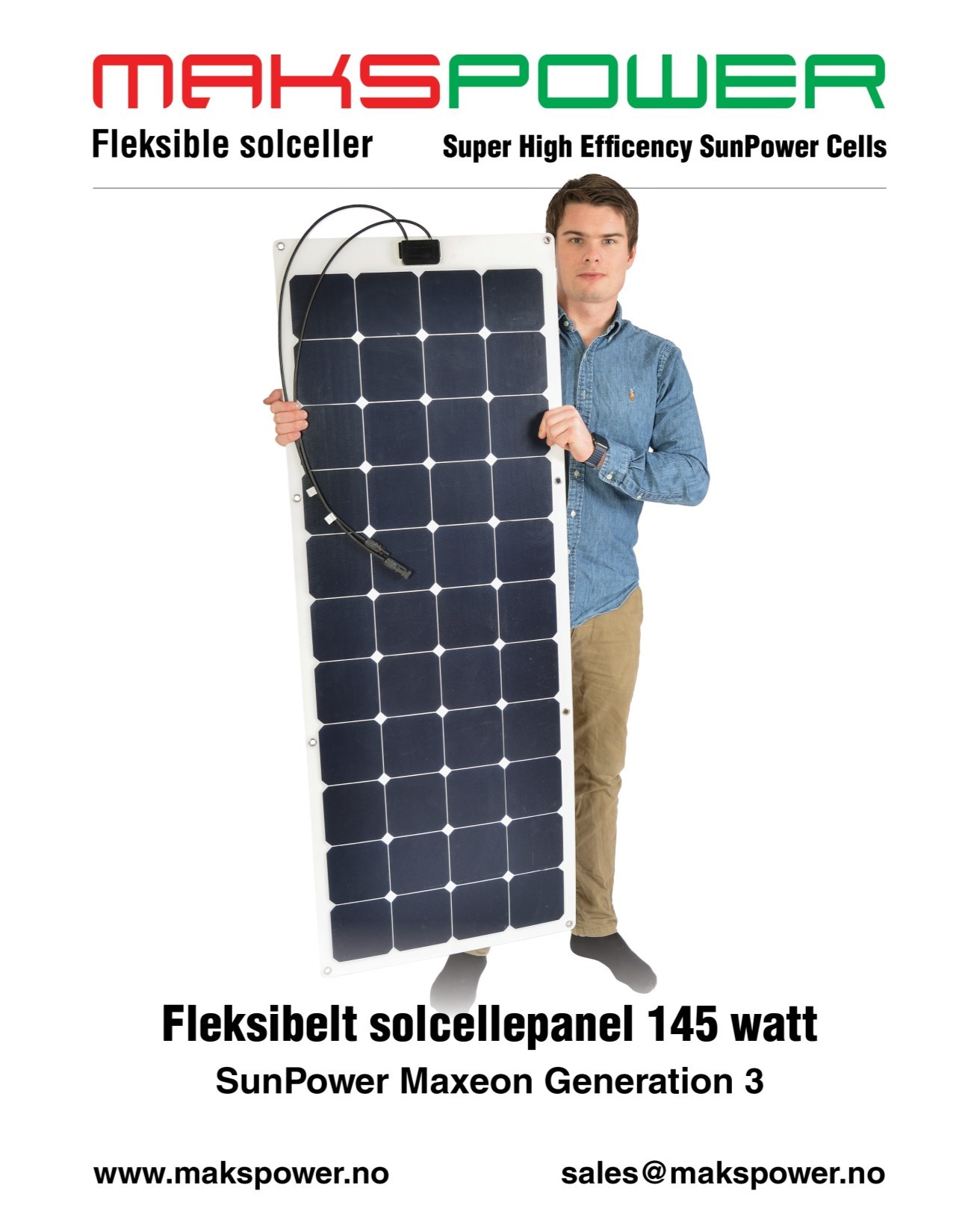 Makspower 145 Watt Fleksibelt solcellepanel SunPower Maxeon Generation 3