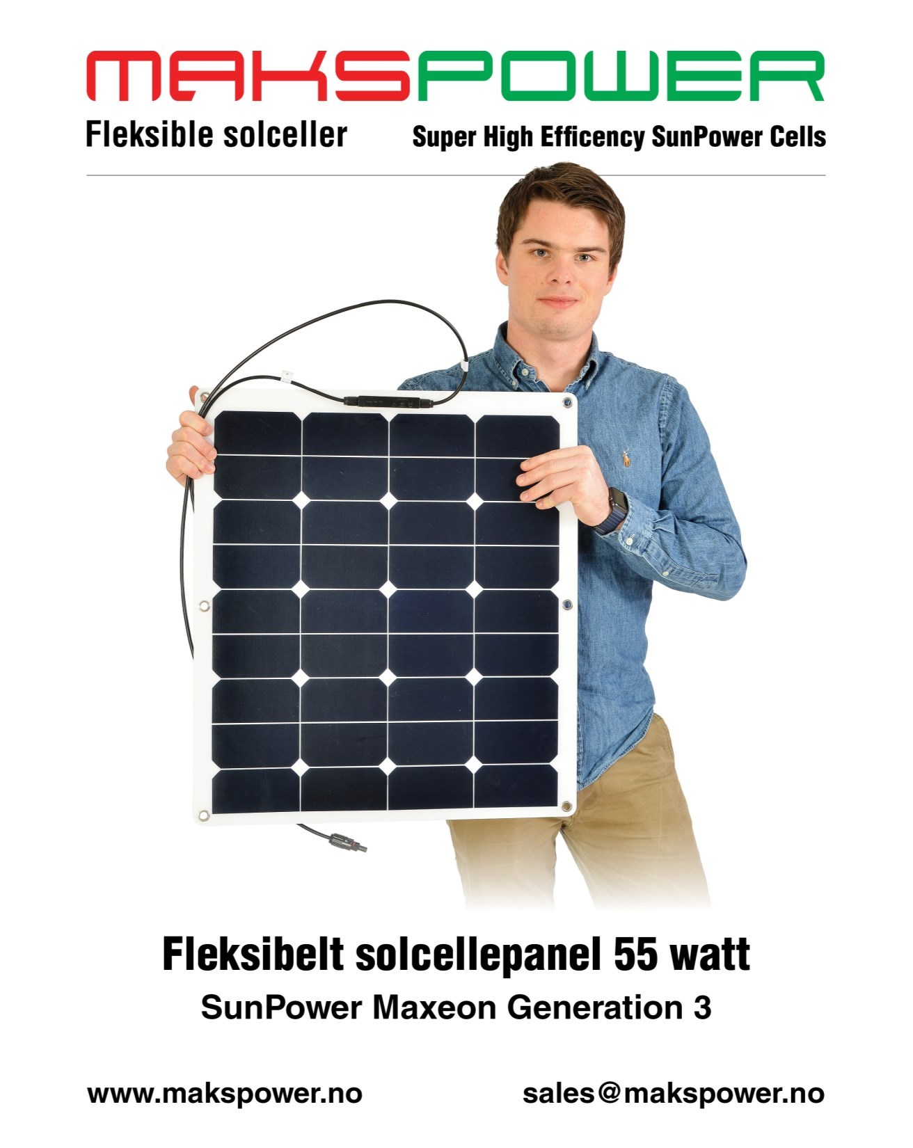 Makspower 55 Watt Fleksibelt solcellepanel SunPower Maxeon generation 3