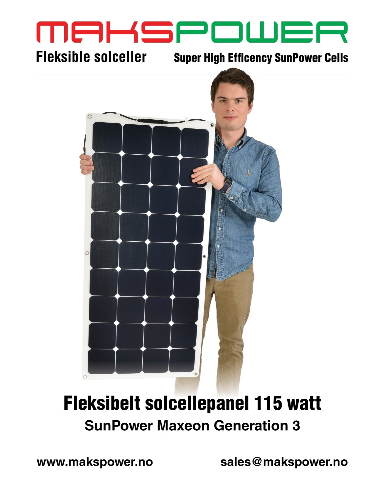 Makspower 115 Watt Fleksibelt solcellepanel SunPower Maxeon generation 3