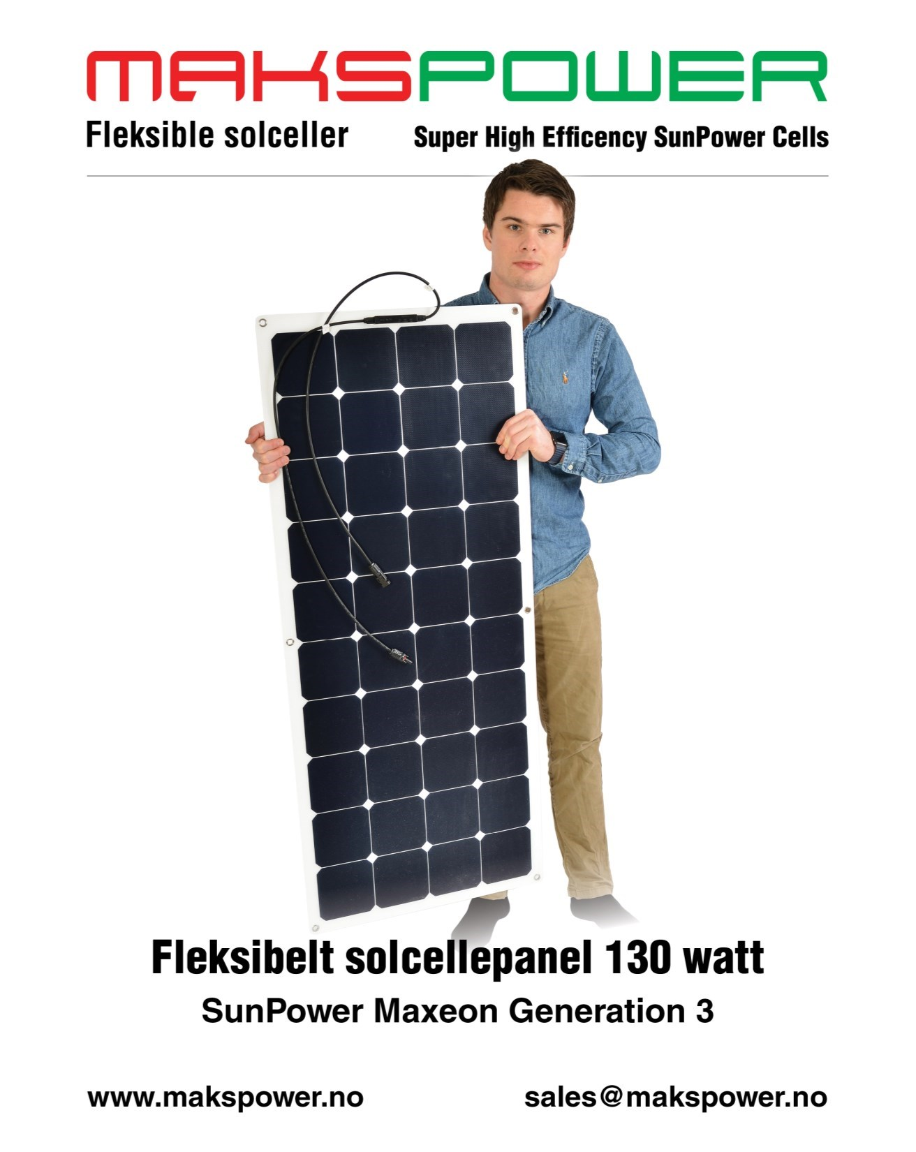 Makspower 130 Watt Fleksibelt solcellepanel SunPower Maxeon generation 3