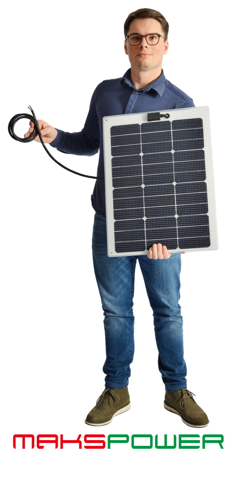 Makspower 40 Watt Semirigid Solcellepanel SunPower Maxeon generation 3 (HVIT)