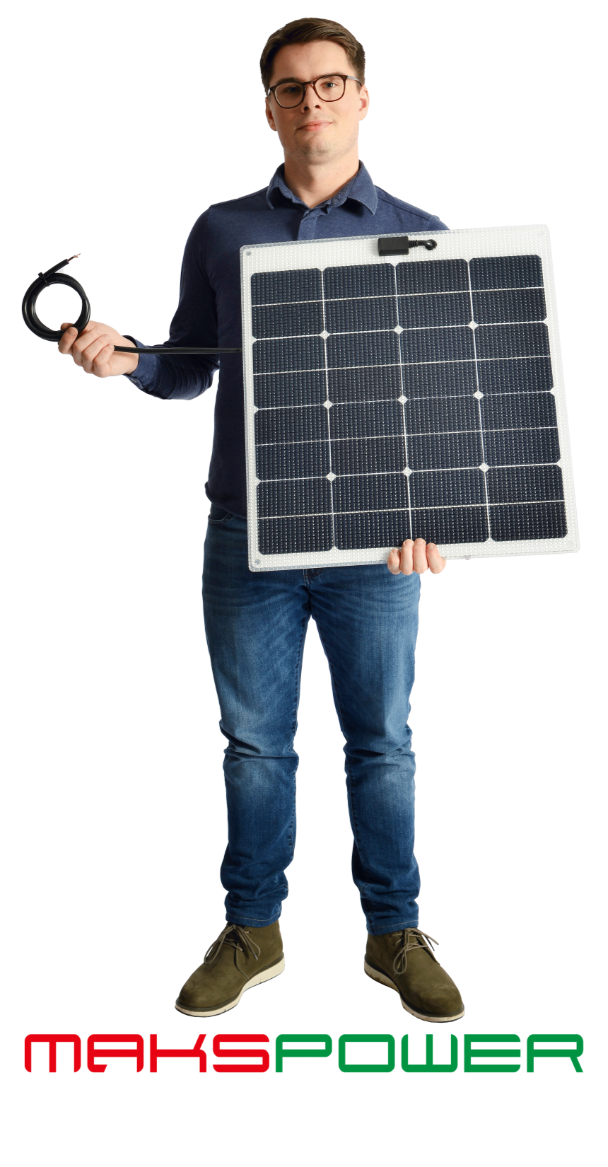 Makspower 55 Watt Semirigid Solcellepanel SunPower Maxeon generation 3 (HVIT)